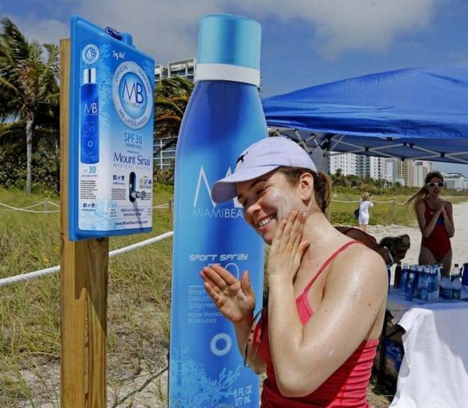 Miami Beach Unveils Free Sunscreen Dispensers On Sand